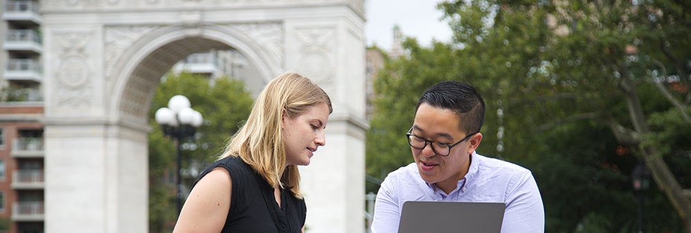 Students working together in Washington Square Park