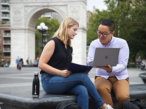Students working together in Washington Square Park - 2018
