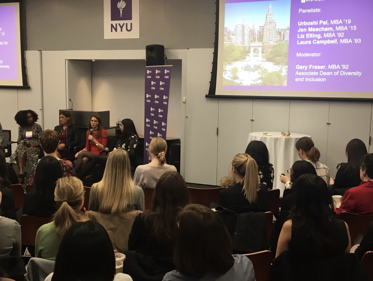 Stern alumni and students participate on a panel for admitted students