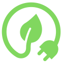 Green icon with leaf and plug