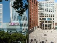 Side by side images of NYU Shanghai and NYU Stern