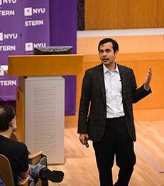 Deepak Hegde speaks to students