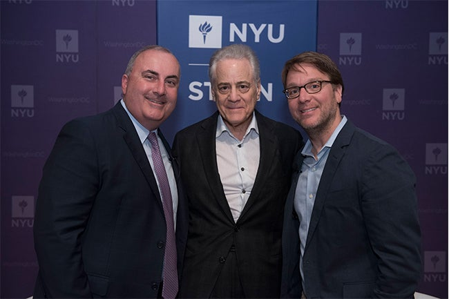 Executive MBA alumnus Charlie Reinhard, NYU Trustee Ronald D. Abramson and Professor Robert Salomon