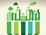 Green cityscape graphic