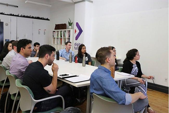 NYU Stern Andre Koo Tech MBA students at NYU Tandon's Digital Future Lab