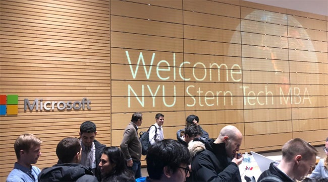 """Sign in Microsoft office, """"Welcome NYU Stern Tech MBA"""""""