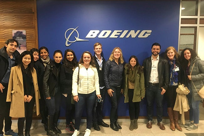 Students at Boeing campus