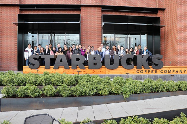 Students at Starbucks' headquarters