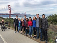 Students in front of the Golden Gate Bridge