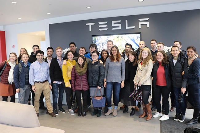 Students at Tesla's headquarters