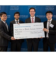 NYU Stern students William Li (MBA '18), Charles Perron-Piché (MBA '19), Diven Sharma (MBA '18) and Tim Zhao (MBA '19) pose with their prize