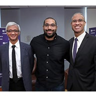 Dean Raghu Sundaram, John Urschel and Professor and Dean Emeritus Peter Henry