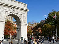 Washington Square Park with American flag