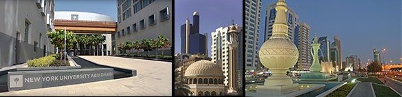 Three images that show the NYU Abu Dhabi campus and two pictures of the Abu Dhabi skyline