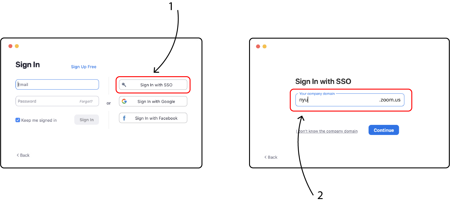 Click Sign in with SSO and input nyu as the domain