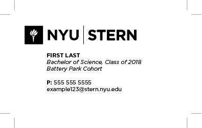 Stern Undergraduate Business Card Black and White 2014