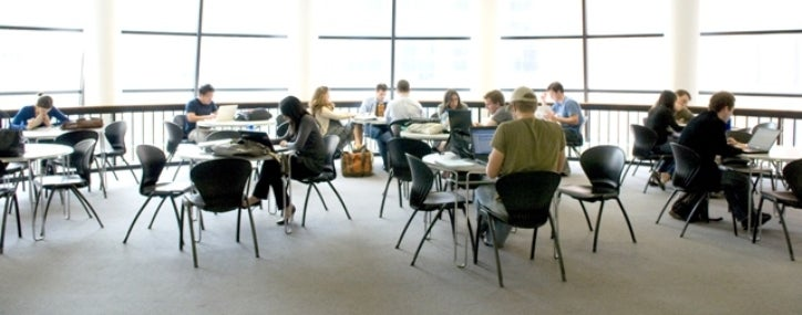 Students study in the sun-filled second floor lounge of Kaufman Management Center.