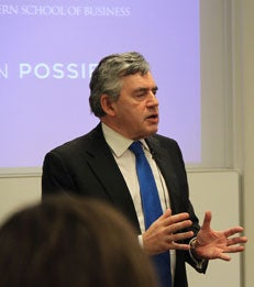 Gordon Brown speaks at MBA Block Lunch_article