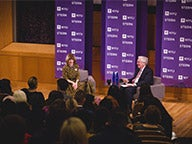 Anna Wintour (left) in conversation with Lord Mervyn King (right)