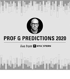 "Graphic with headshot of Scott Gallowa, ""Prof G Predictions 2020"" and ""Live from NYU Stern"""