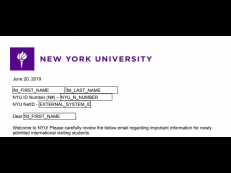 Example of NYU Visa Sponsorship Letter with log-in credentials