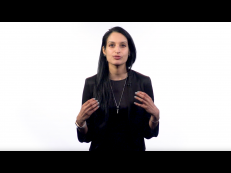 A still shot of Prof. Duggal's teaching video for her course, Consumer Behavior.