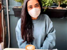 Pallavi Thawani (BS '21) wearing a Made by Ashi face mask