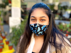 Riya Mital (BS '21) wearing a Made by Ashi face mask