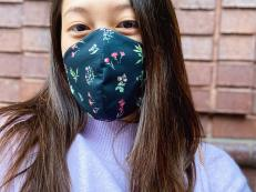 Sophia Sze (BS '21) wearing a Made by Ashi face mask