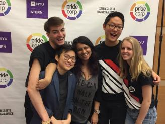 The NYU Stern Undergraduate Pride Corp Allyship Team From bottom left and clockwise: Teri Tan (BS '16 and Pride Corp President 2014-2015), Robbie Paul (BS '16 and VP of Allyship), Priya Kamdar (BS '16 and SPEX President & USWIB Director of Conference), David Kim (BS '17 and Pride Corp President 2015-2016), Michelle Enkerlin (BS '18 and VP of Internal Allyship)