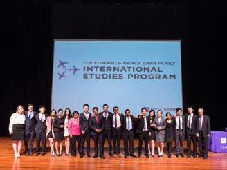 ISP Competition finalists posing with professors and Dean Menon