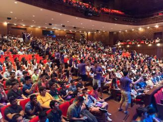 Stern Class of 2019 and Orientation Leaders in Auditorium