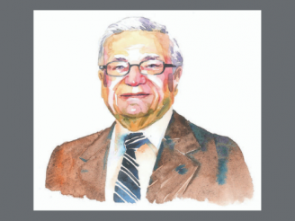 Watercolor-style illustration of Jerry Cohen
