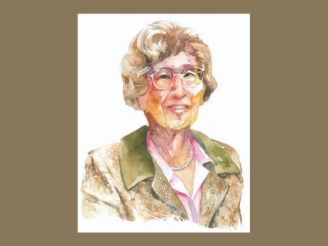Watercolor-style illustration of Charlotte Pearl Rubens Bloomberg