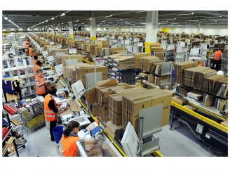 Amazon workers in warehouse