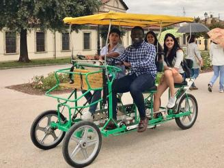 Study-Abroad Students in a Four-Person Bike