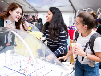 Students playing games at Block Party