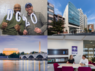 From top left: Two EMBA DC graduates; outside of DC Stern building; students inside at a table; bridge in DC