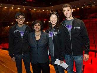 Students pose with Dean Geeta Menon