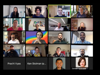 images of people on a Zoom call smiling