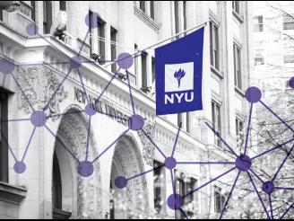 Graphic of purple dots connected by lines over black and white image of NYU school building