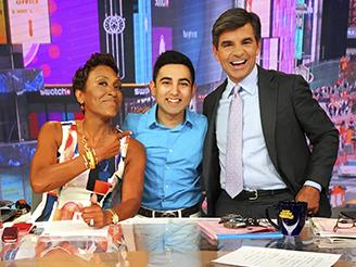 Shobhit Jain with Good Morning America hosts, Robin Roberts and George Stephanopoulos