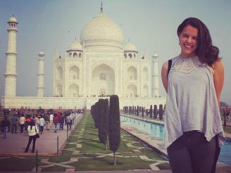 Sophie Frank with the Taj Mahal in the background