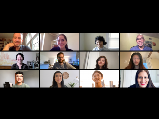 Undergraduate College students and administrators in a Zoom call