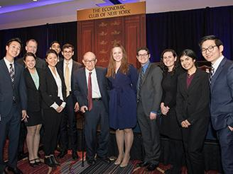 NYU Stern's top economics and finance students with Alan Greenspan