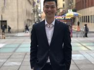 Daniel Fang in front of Tisch Hall