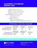 Academic Calendar Spring 2021