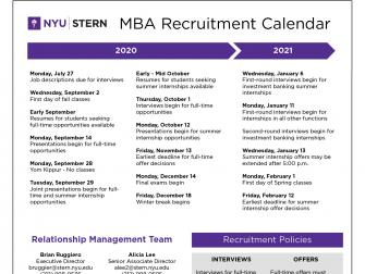 2020 to 2021 Recruitment Calendar