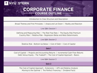 Corporate Finance Course Outline Nyu Stern