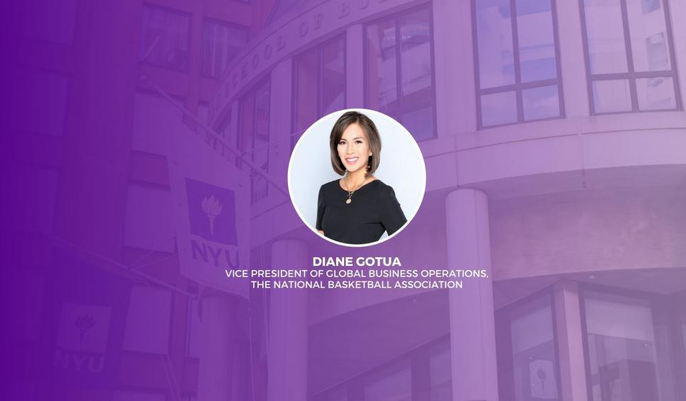 Headshot of Diane Gotua overlaid on a purple Stern background with text reading
